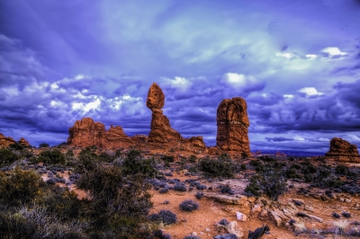 Stormy Late Afternoon At Balanced Rock Arches National Partk