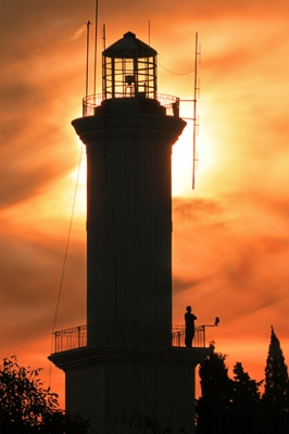Colonia Del Sacramento Lighthouse At Sunset.