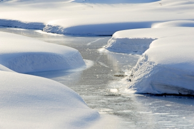 Snowy Icy River