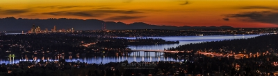 Sunset Over Lake Washington, Seattle, And Olympic Mountains