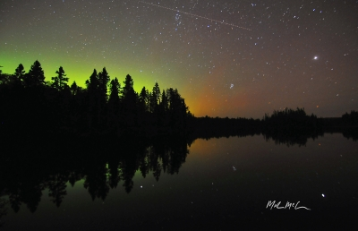 Shooting Star And Northern Lights