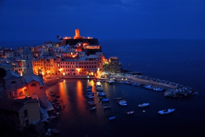 Night Fallls On Vernazza In The Cinque Terre
