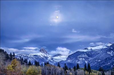 Moonrise At Twighlight, Teton Canyon, Idaho