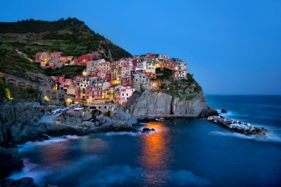 Manarola Harbor At Dusk