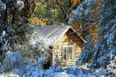 Cabin In First Snow Fall