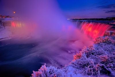 Full Wolf Moonrise Over Niagara Falls