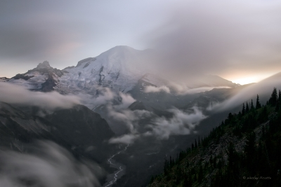 White River Valley And Mount Rainier