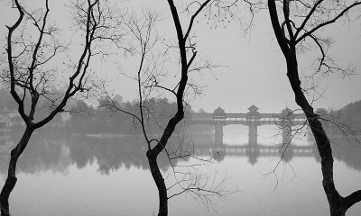 Scenic View Of Guilin In B&w