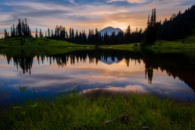 Tipsoo Lake At Sunset, Mt. Rainier Ntl Park, Wa