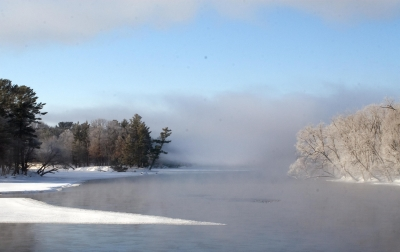 River Fog And Ice