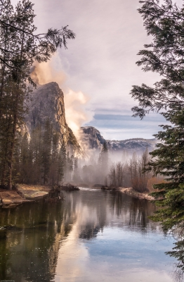 Early Morning Three Brothers And The,merced River.