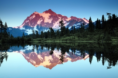 Mount Shuksan At Twilight Reflected In Picture Lake