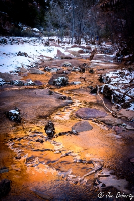 Icy Sunset In Pine Creek, Zion National Park