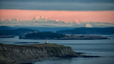 Cascade Mountains Sunset With Cattle Point Lighthouse