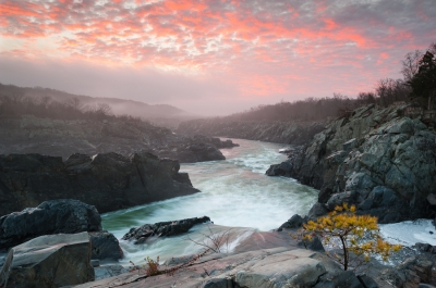 Winter Sunrise Over The Potomac River At Great Falls