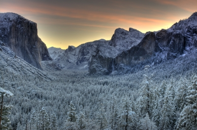 Sunrise Yosemite Valley After An Evening Snowfall