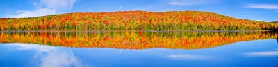 Panaroma (size 22870 X 5550, Merged X7), Canada, Quebec, La Mauricie National Park, Lac Bouchard, Fall Colors, Reflection