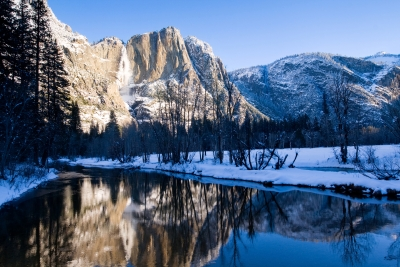 Swinging Bridge – Yosemite Falls Reflection