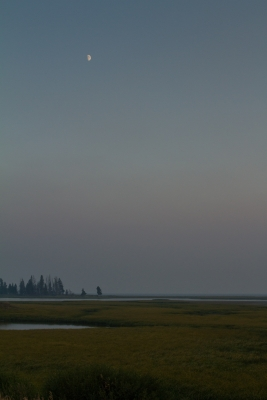 Sunset/moonrise Over Yellowstone Lake