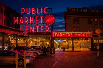 Twilight At Pike Place Market
