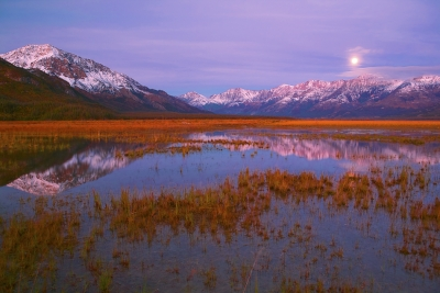 Canada, Yukon, Alaska Highway, Kluane Lake, Moonset, Dawn, Reflection, Destruction Bay , Fall Colors, 加拿大, 育空, 阿拉斯加高速公路, 秋色