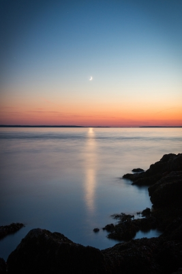 Moonset Over Bass Harbor Bay – Acadia National Park, Maine