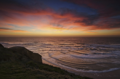 Vivid Winter Sunset Over The Pacific