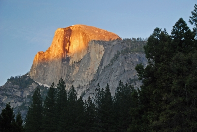 Half Dome Golden At Sunset