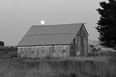 Full Moon Over Old Barn