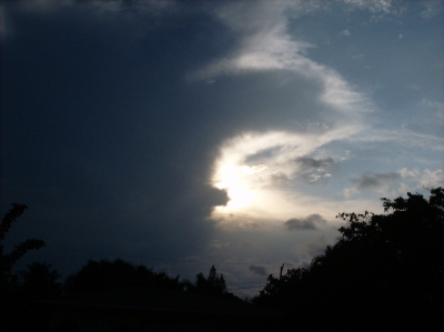 Sun Peeking From Dark Clouds