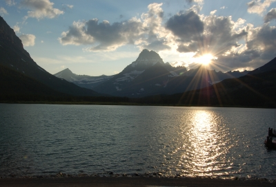 Sunset On Swiftcurrent Lake-glacier National Park
