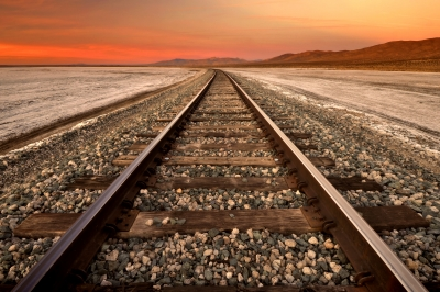 Tracks Through Koehn Dry Lake Sunrise