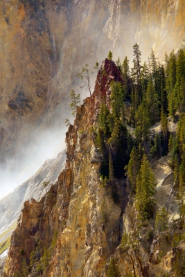 Rocky Spire And Mist In Yellowstone's Grand Canyon