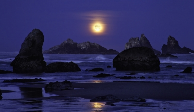 Moon And Sea Stacks