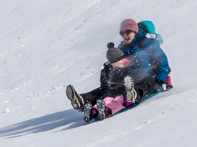 Woman Sledding With Two Toddlers