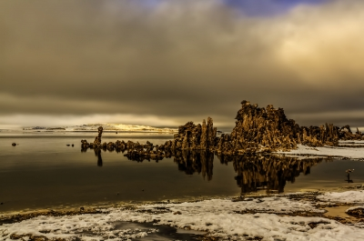 Afternoon Sun Lifts Pogonip Fog Over Mono Lake California (c) Dan Blackburn