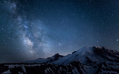 Milky Way Over Rainier, Mount Rainier National Park, Washington