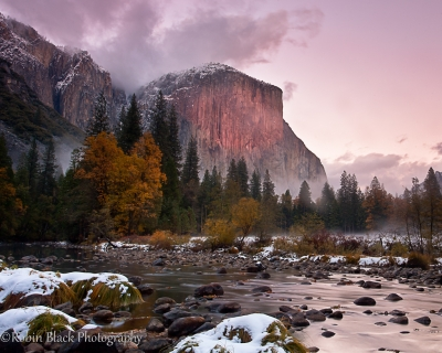 Snowy El Capitan Sunset