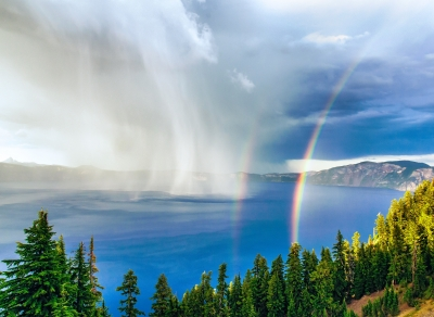 Storm & Double Rainbow On Crater Lake