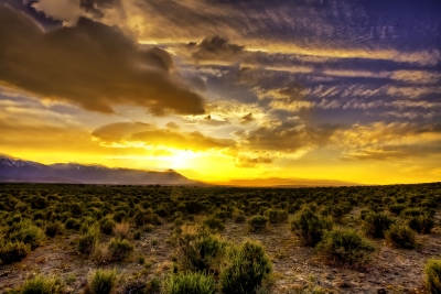 Sierra Sunset Over The Owens Valley