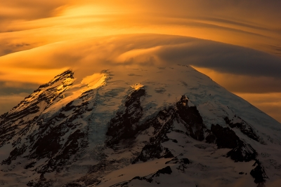 Sunset And Lenticular Clouds, Mt. Rainier, Washingont