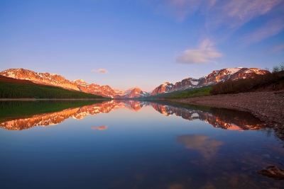 Montana, Glacier National Park, Many Glaciers, Lake Sherburne, Sunrise, Reflection
