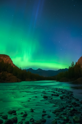 Aurora Over The Bow River