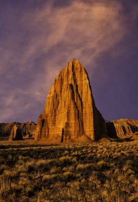 Sunrise On Temple Of The Sun & Temple Of The Moon Capitol Reef National Park