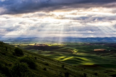 Hills With Sun Rays