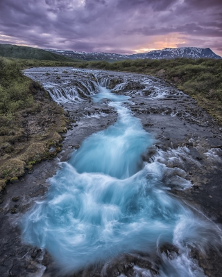 Midnight Sun In Bruarfoss Iceland