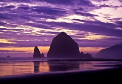 Sunset On Haystack Rock & The Needles Canon Beach Oregon