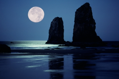 Moon Set At Cannon Beach Ii
