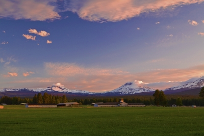 Oregon, Three Sisters, Sunset, Landscape