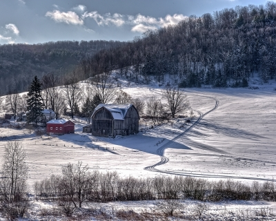 Mountain Farm In Snow
